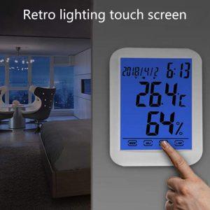 ··Reloj mini digital lcd, termómetro higrómetro, estación meteorologica, iluminación, pantalla tactil.