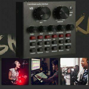 Interfaz de Audio V8 multifuncional, tarjeta de sonido grabación, mezclador…