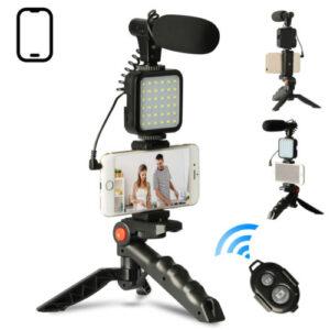 Kit mini tripode de mano con micrófono, luz led y mando a distancia bluetooth